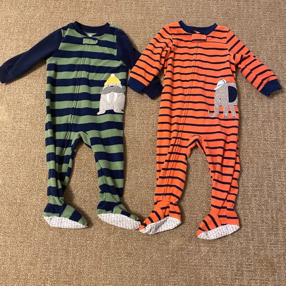 4T, Green and Navy Carters Baby Boys Cotton Zip-Up Sleep N Play